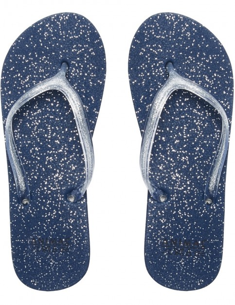 Animal Cosmos Glitter Flip Flops in Dark Navy
