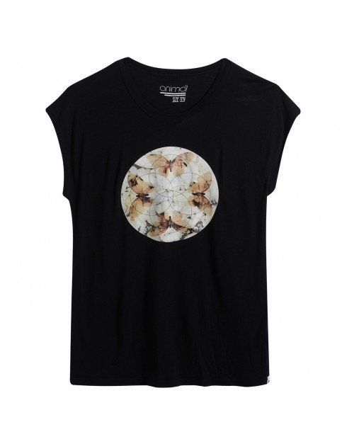 Animal Crystal Wings Short Sleeve T-Shirt in Black