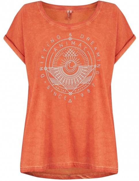 Animal Drift Circles Short Sleeve T-Shirt in Terracotta Red