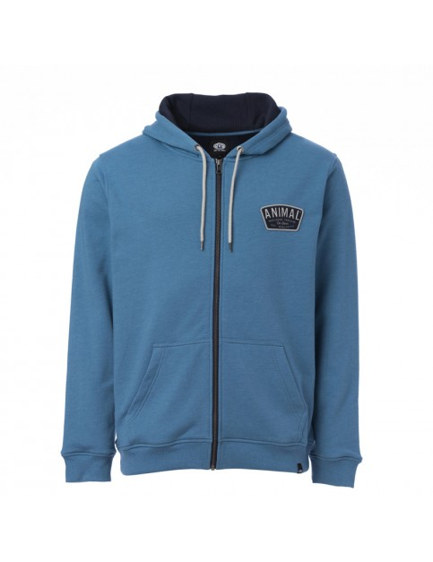Animal Escoloet Zipped Hoody in Cadet Navy Marl