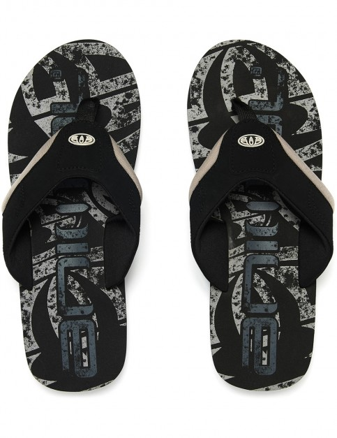 Animal Jekyl Logo Flip Flops in Black