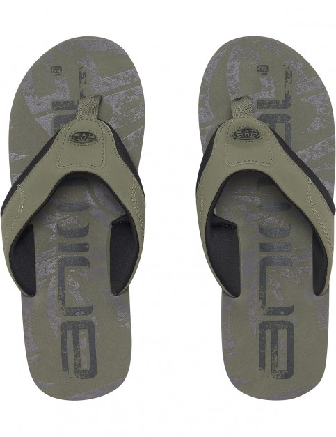 Animal Jekyl Logo Flip Flops in Dusty Olive Green