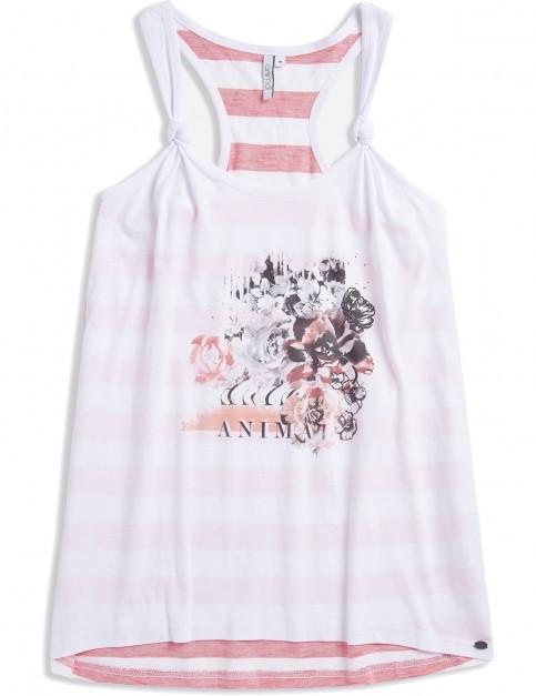 Animal Katya Neon Sleeveless T-Shirt in White