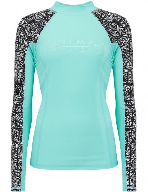 Animal Keshia Waves Long Sleeve Rash Vest in Peppermint Blue