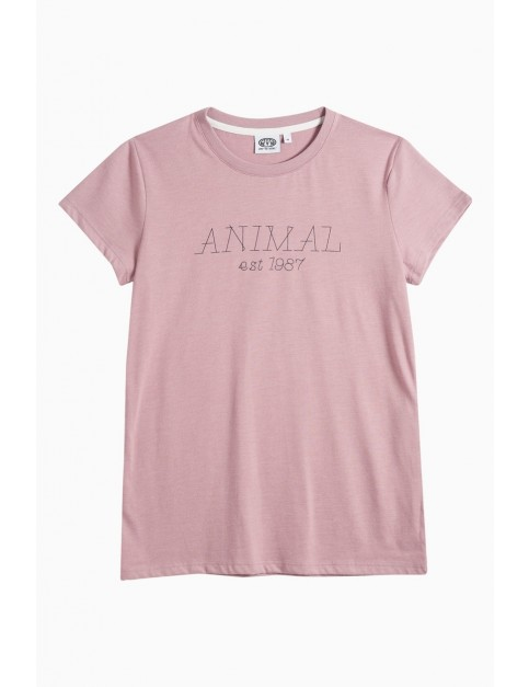 Animal Lowgo Short Sleeve T-Shirt in Woodrose Pink Marl