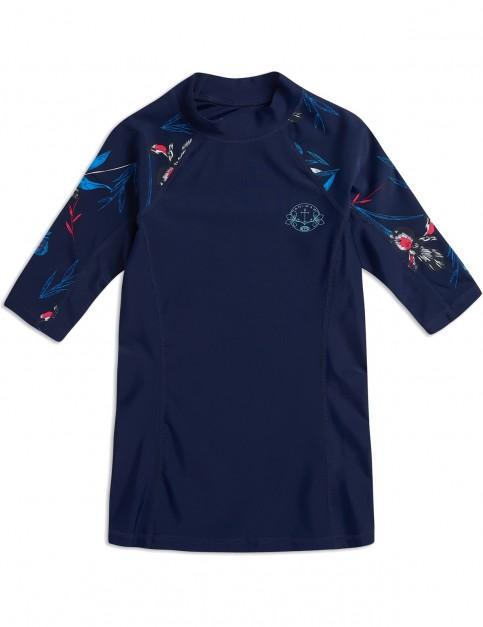 Animal Nessea Short Sleeve Rash Vest in Mid Navy Blue