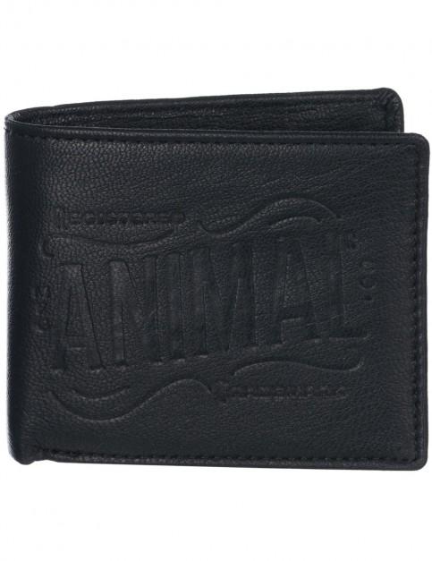 Animal Peako Leather Wallet in Black
