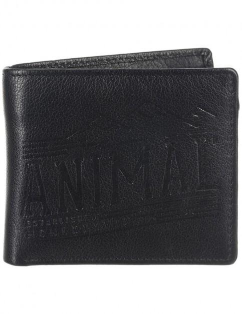 Black Animal Peako Leather Wallet