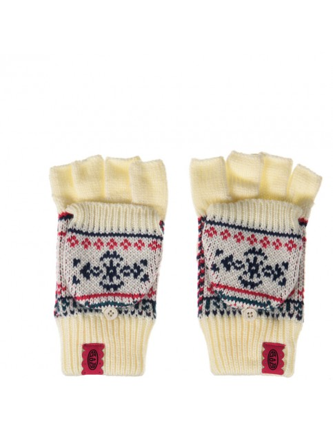 Animal Pozza Knitted Gloves in Vanilla Cream