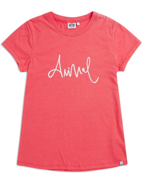 Animal Reel Me In Short Sleeve T-Shirt in Calypso Coral Red Marl