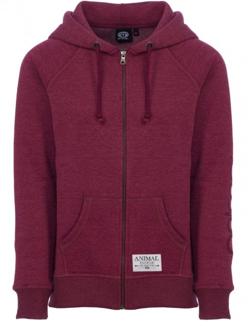Animal Roo Zipped Hoody in Bordeaux Red