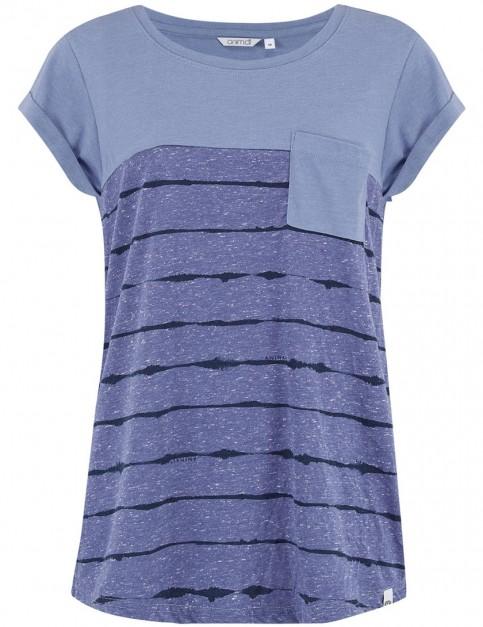 Animal Sea Stripes Short Sleeve T-Shirt in Dusty Blue Marl