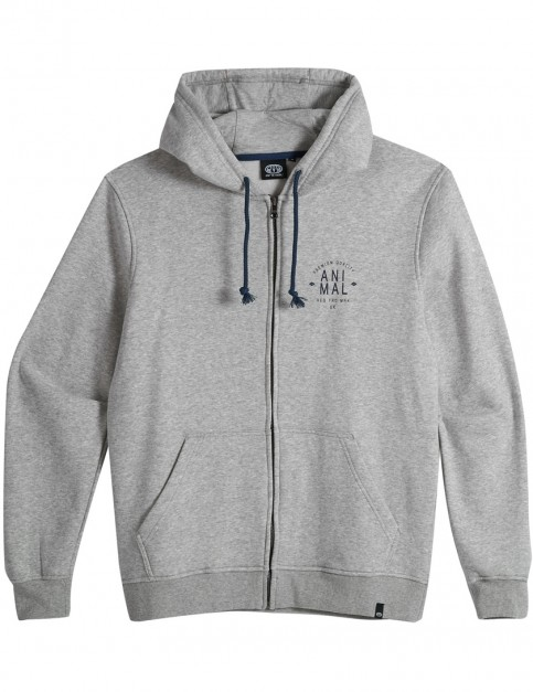 Animal Shiver Zipped Hoody in Grey Marl