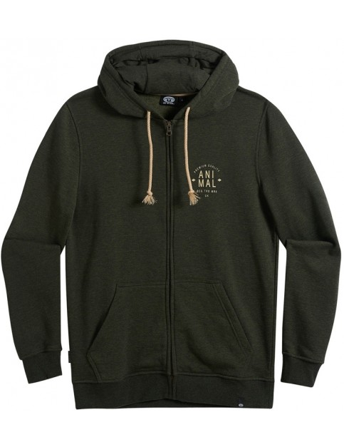 Animal Shiver Zipped Hoody in Pine Green Marl