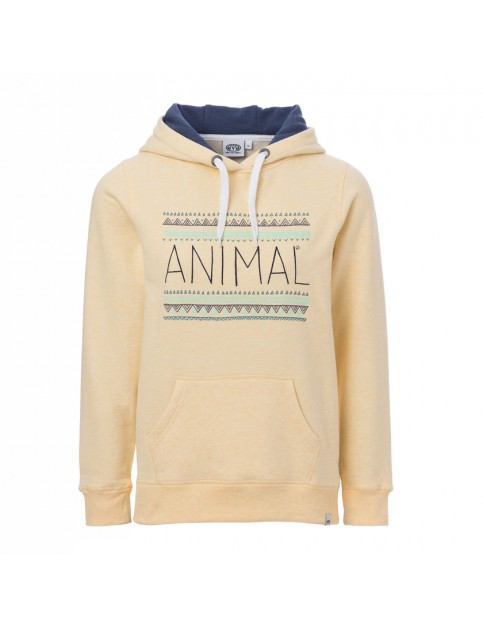Animal Sketched Pullover Hoody in Banana Yellow Marl