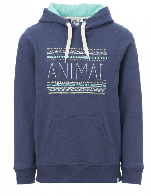 Animal Sketched Pullover Hoody in Sailor Blue Marl