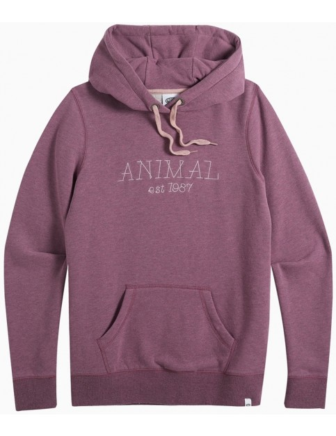 Animal Sketched Pullover Hoody in Grape Purple Marl