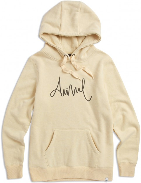 Animal Sketched Pullover Hoody in Merangue Yellow Marl