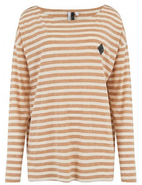 Animal Street Stripes Long Sleeve T-Shirt in Toffee Apple Brown