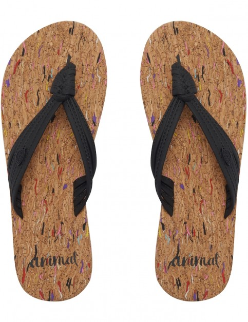 Animal Summer Flip Flops in Black