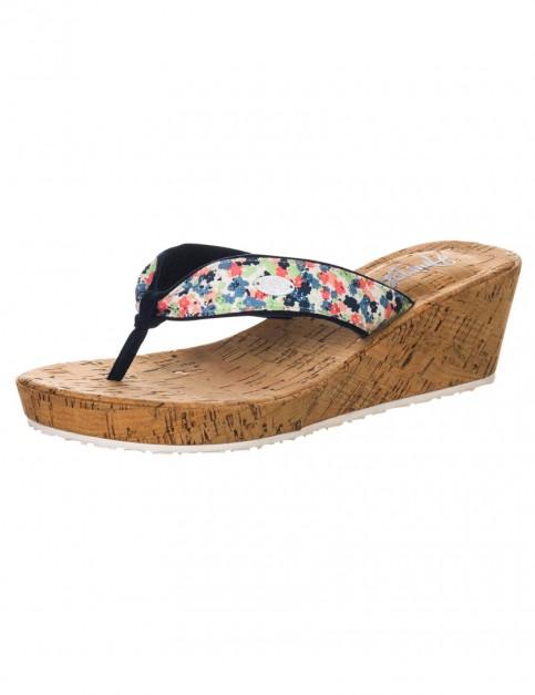 Antique Cream Animal Susie Cork Wedge Sandals