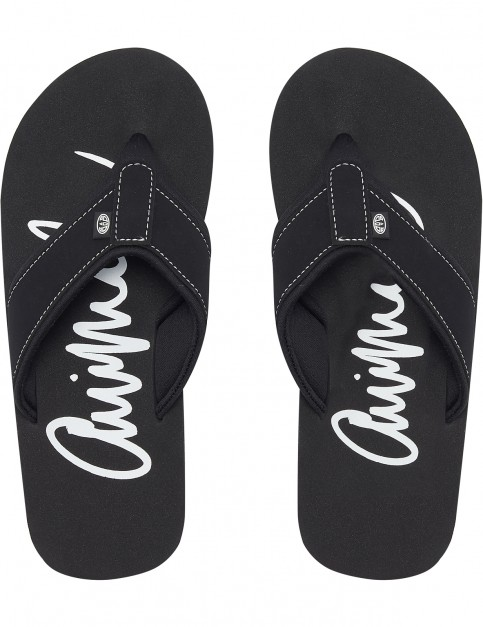 Animal Swish Logo Flip Flops in Black