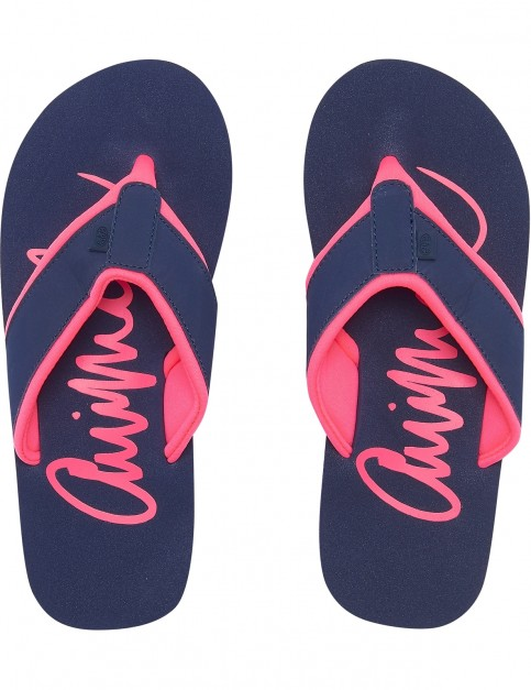 Animal Swish Logo Flip Flops in Mid Navy Blue