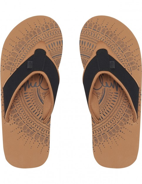 Animal Swish Placement Flip Flops in Black