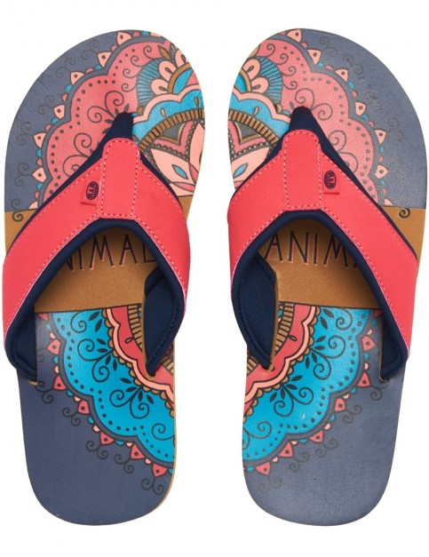 Animal Swish Placement Flip Flops in Dark Navy