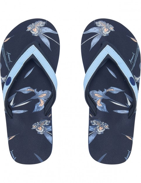 Animal Swish Slim AOP Flip Flops in Vintage Indigo Blue