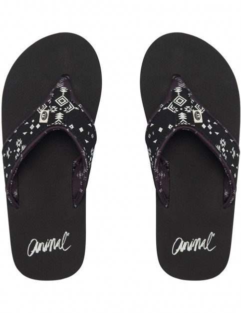 Animal Swish Upper AOP Flip Flops in Black