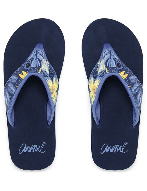 Animal Swish Upper Aop Flip Flops in Dark Navy