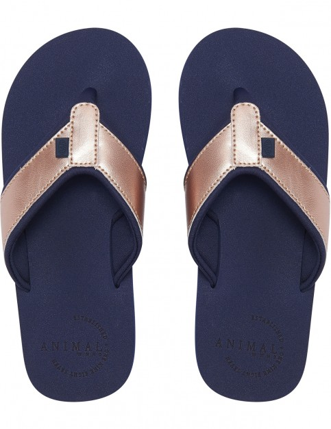 Animal Swish Upper Flip Flops in Mid Navy Blue