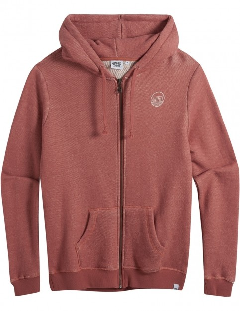 Animal Trailz Zipped Hoody in Redwood Orange Marl