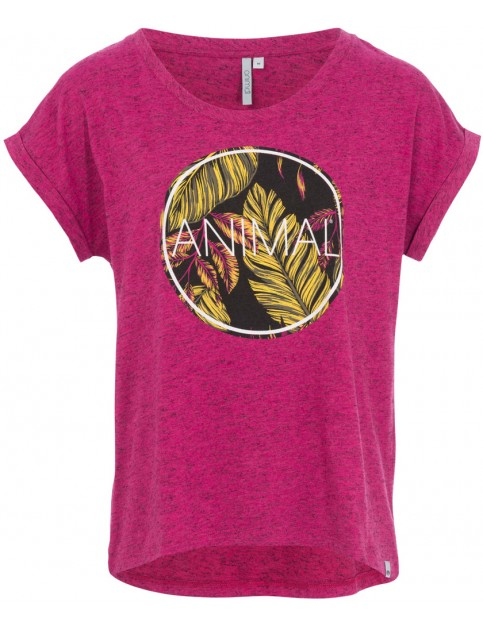 Animal Tropic Circle Short Sleeve T-Shirt in Damson Purple