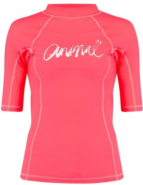 Animal Vickie Short Sleeve Rash Vest in Neon Orange