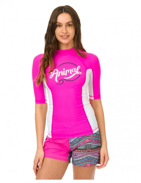 Animal Vickie Short Sleeve Rash Vest in Lily Pink