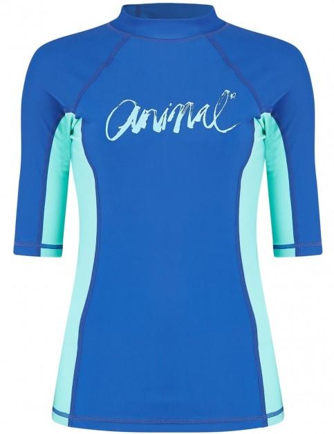 Animal Vickie Short Sleeve Rash Vest in Snorkel Blue