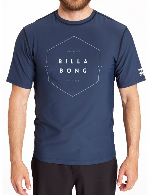 Billabong Answer Short Sleeve Rash Vest in Dark Slate
