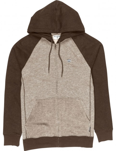 Billabong Balance Sherpa Zipped Hoody in Earth Heather