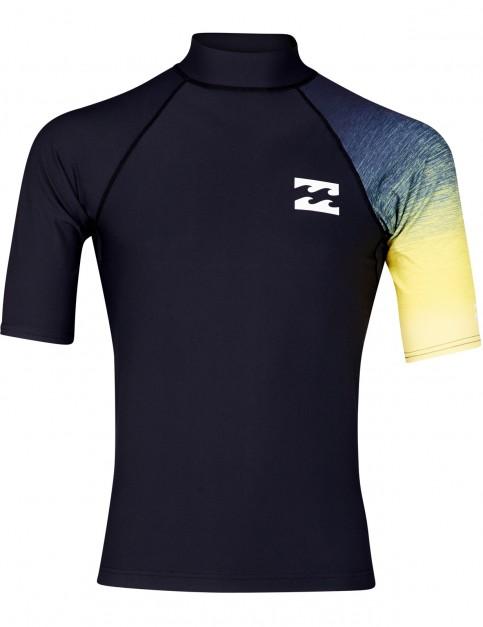 Billabong Contrast Short Sleeve Rash Vest in Black