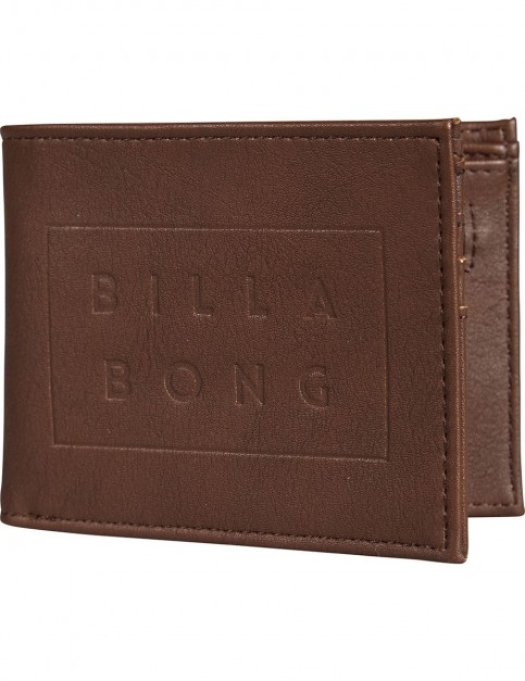 Billabong Die Cut Faux Leather Wallet in Chocolate