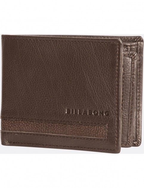 Billabong Empire Snap Leather Wallet in Chocolate