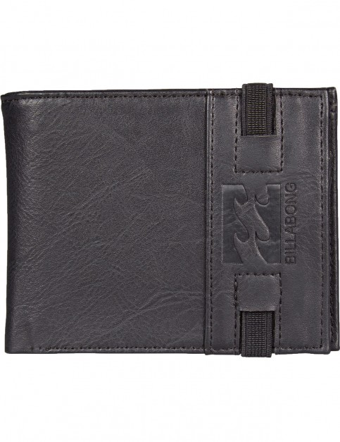 Billabong Locked Faux Leather Wallet in Black
