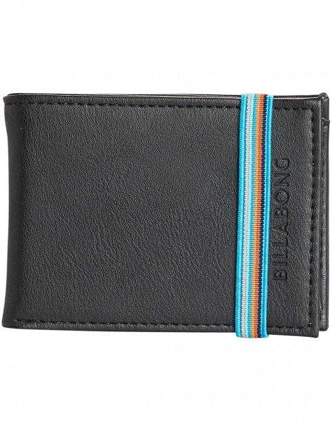 Billabong Locked Slim Faux Leather Wallet in Black