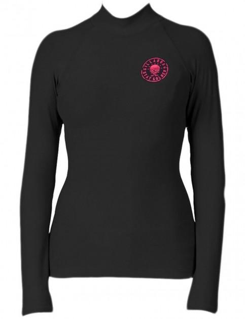 Billabong Logo In Long Sleeve Rash Vest in Black Sands