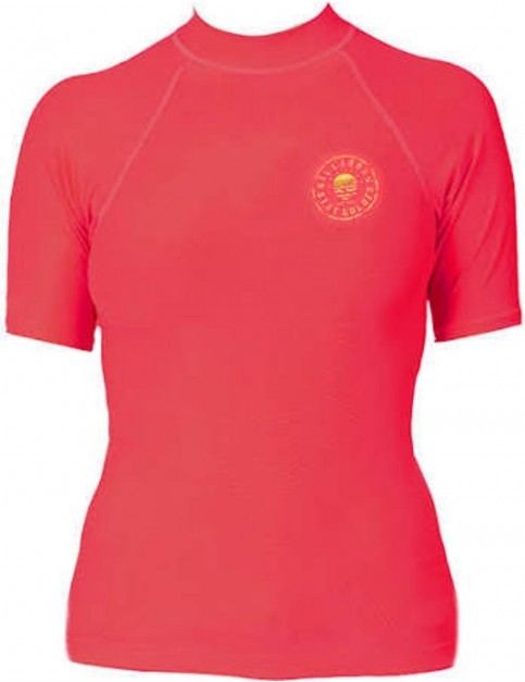 Billabong Logo In Short Sleeve Rash Vest in Horizon Red