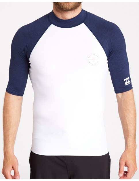 Billabong Rotor Raglan Short Sleeve Rash Vest in White