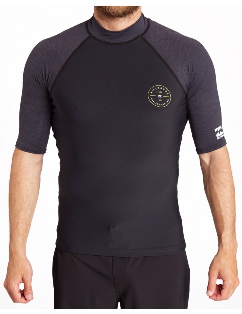 Billabong Contrast Short Sleeve Rash Vest in Black Heather