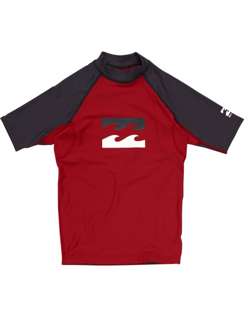Billabong Team Waves Short Sleeve Rash Vest in True Red